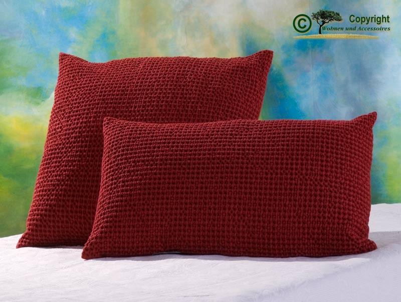 Hübsches Kissen Maia mit toller Struktur, 45x45cm in carmin - rot