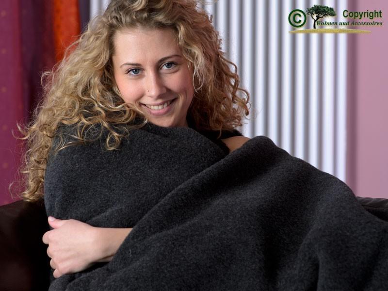 100% Merino-Lammwolle Wolldecke von Ritter in 150x200-220cm anthrazit - super weich und toll warm
