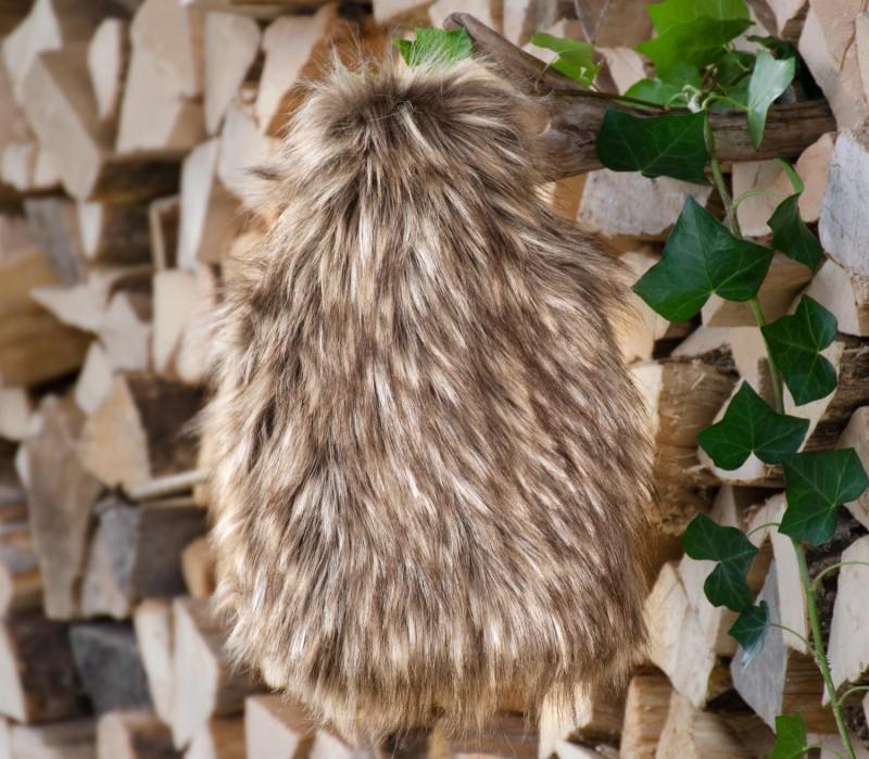 Wärmflaschenhülle aus Fell (Webpelz) Grizzly mit Naturgummi Wärmflasche