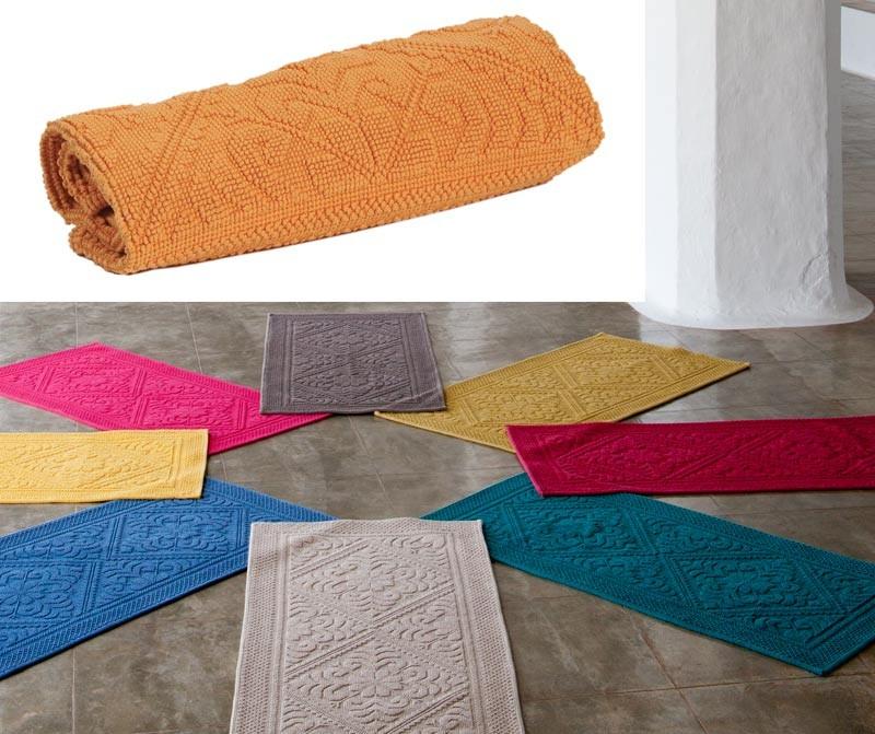 Badteppich - Badematte - Badvorleger 64x54cm in gelb-orange