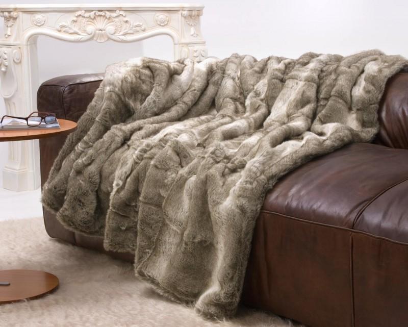 Felldecke (Webpelzdecke) Bär grau-beige Melange in XXL 220x240cm