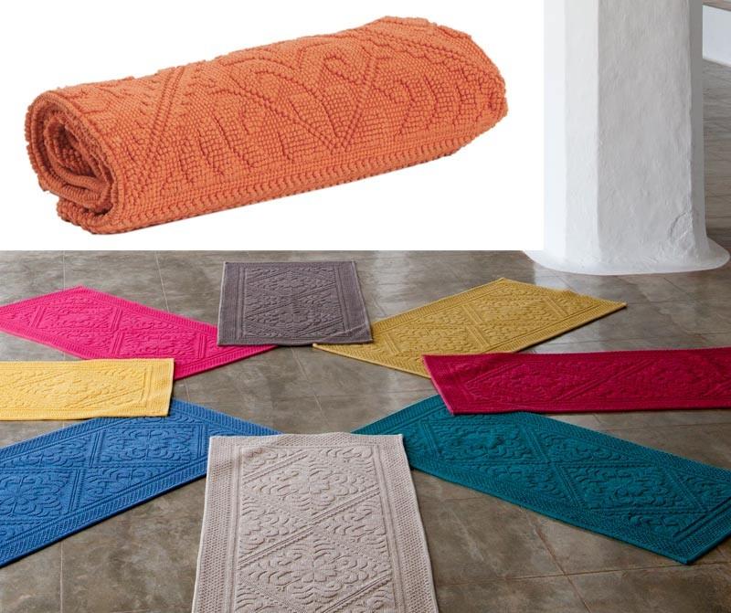 Badteppich - Badematte - Badvorleger 110x54cm in orange
