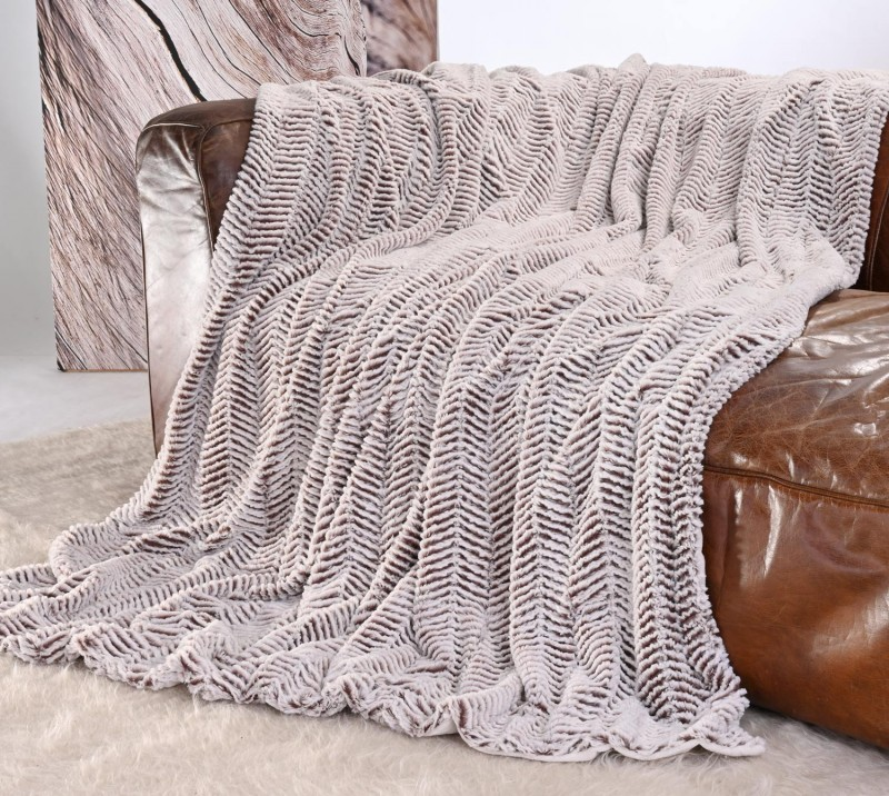 Kuscheldecke Felloptik weiß-braun 220x240cm