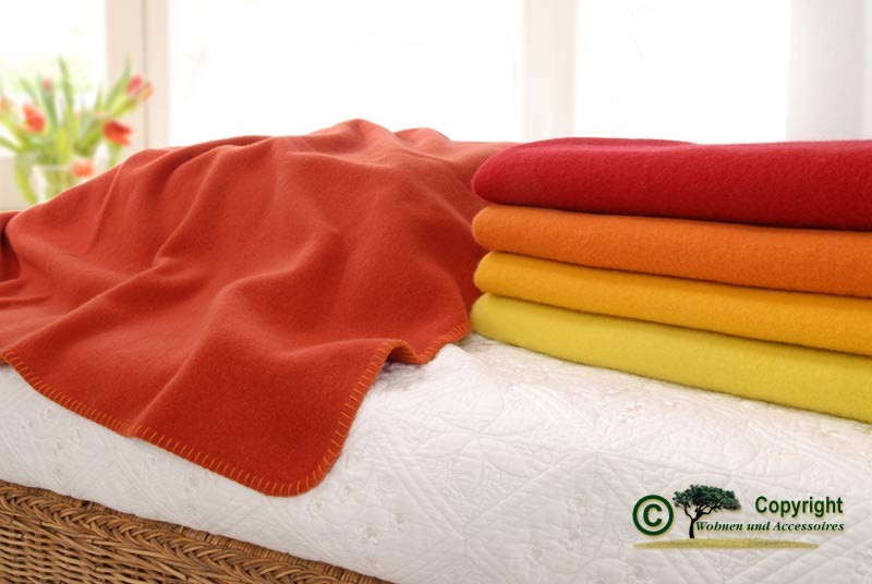"""Wolldecke """"Lana"""" von Steinbeck 100% superweiche Schurwolle rot, orange, gelb Töne"""