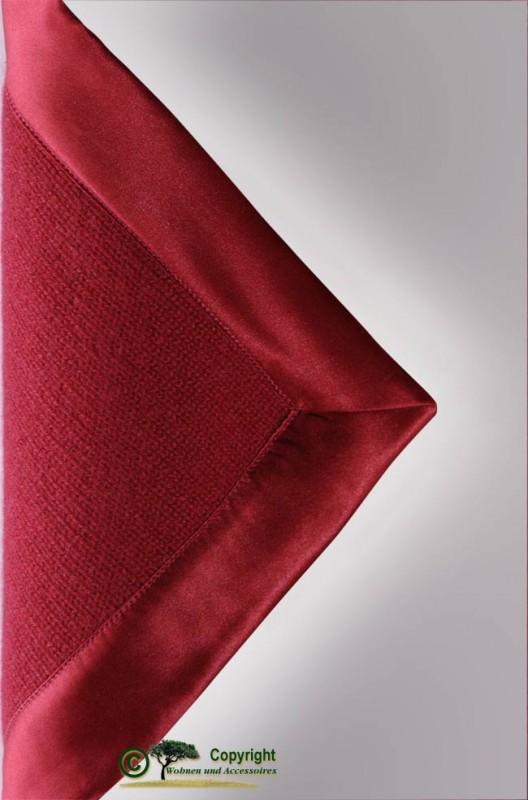 Märchenhafte gestrickte Kaschmirdecke, gestricktes Kaschmirplaid, Wolldecke in rot mit Einfassung