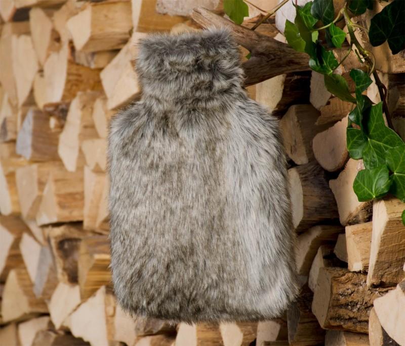 Wärmflaschenhülle aus Fell (Webpelz) Bär grau-beige mit Naturgummi Wärmflasche