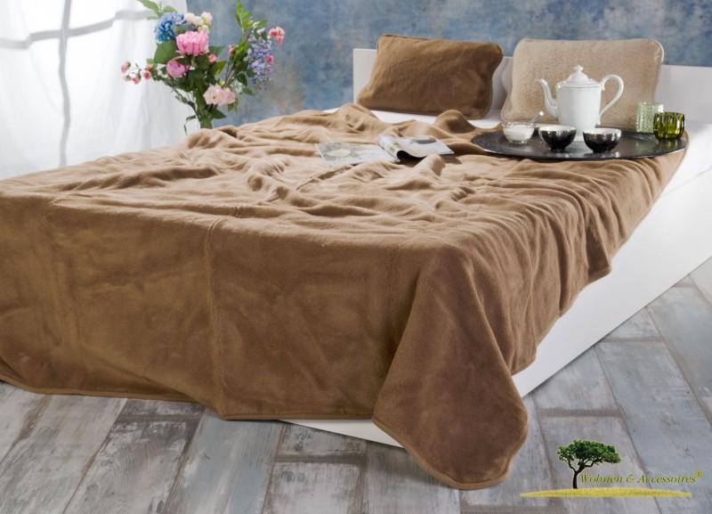 Große Wolldecke (Bettdecke) Schoko 200x220cm aus 90% Merinowolle und 10% Kamelhaar