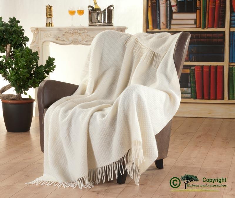 Englisches Wollplaid mit Fransen, Wolldecke mit eingewobener Struktur 100% Neuseeland Wolle weiss