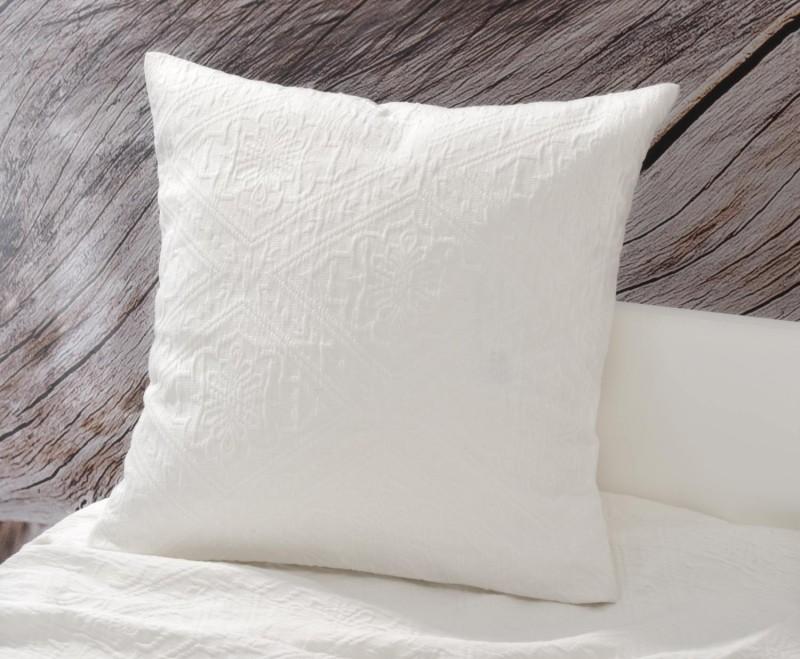 Kissen Faro - Blumenreliefs - weiß 45x45cm