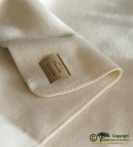 Naturbelassene Wolldecke wollweiß, weiß Optilana 100% Wolle 150x200cm von Steinbeck