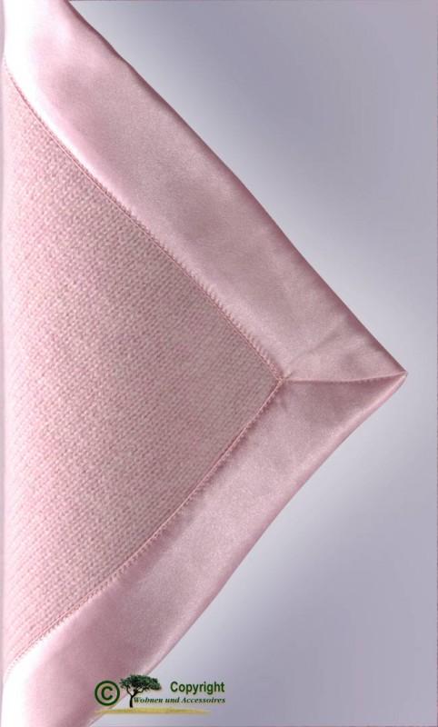 Märchenhafte gestrickte Kaschmirdecke, gestricktes Kaschmirplaid, Wolldecke in rosé mit Einfassung