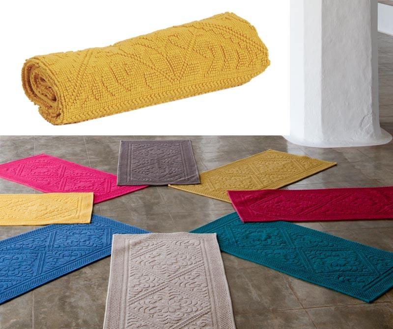 Badteppich - Badematte - Badvorleger 64x54cm in gelb