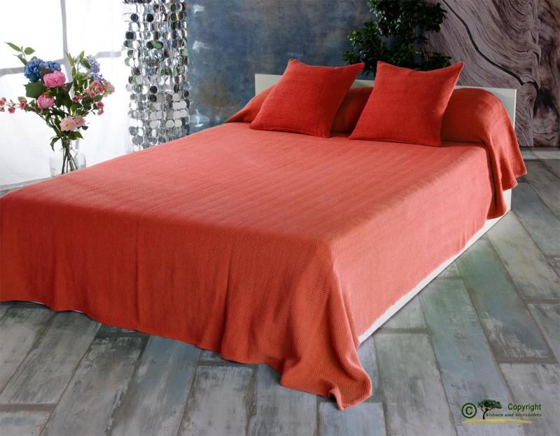 Tagesdecke Boris, hochwertiger französischer Überwurf mit Zick-Zack Muster orange 240x260cm