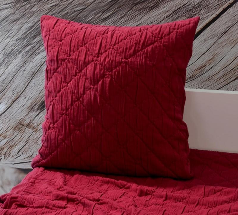 Kissen Aveiro - Rautenmuster - bordeaux rot 45x45cm