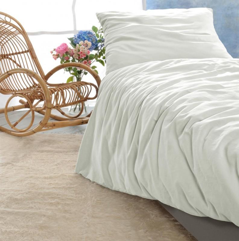 Satin Bettwäsche-Set Porto in elfenbein-weiß 100% Baumwolle - hergestellt in Portugal