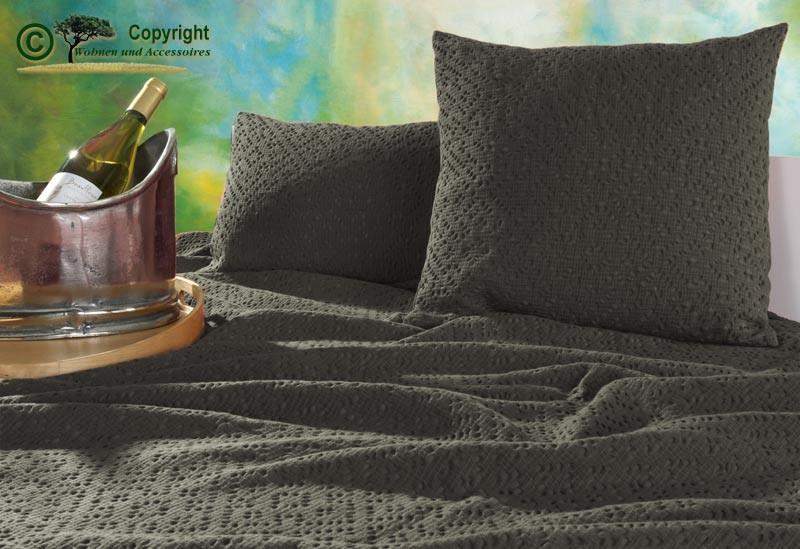 Kissen 30x50cm Adele mit Ajour Muster in grau-braun