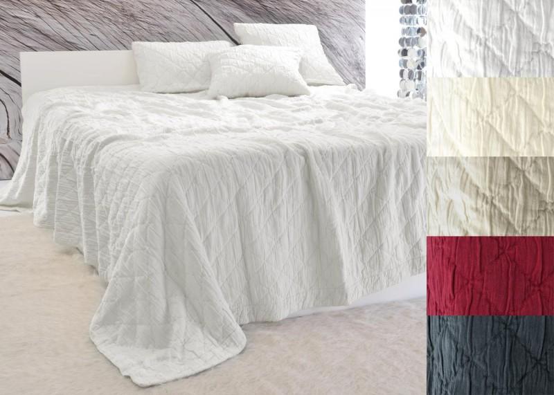 Tagesdecke Aveiro - Rautenmuster - weiß 180x260 - 260x300cm