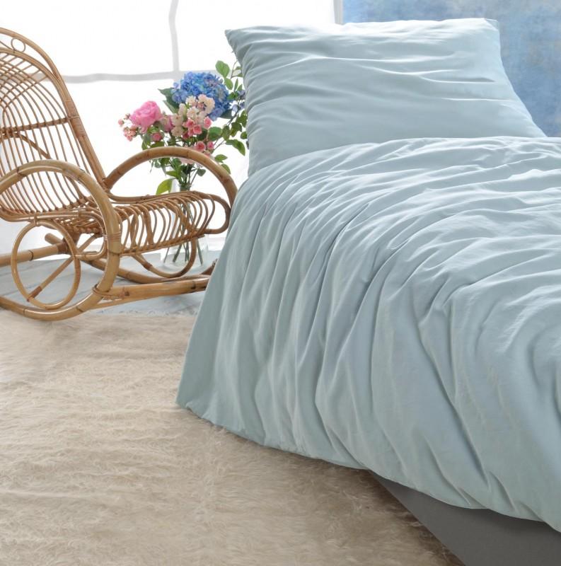 Satin Bettwäsche-Set Porto in grau-blau 100% Baumwolle - hergestellt in Portugal