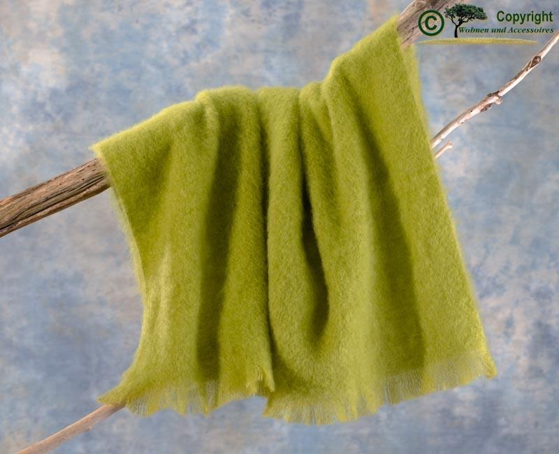Beste Qualität aus Neuseeland! Luxus Wolldecke aus 100% Mohair, Mohairdecke, Mohairplaid hellgrün