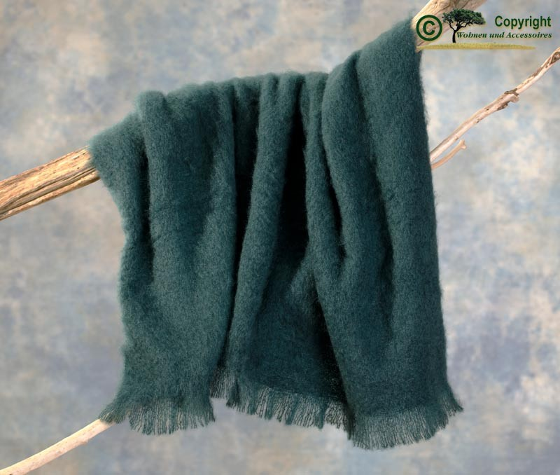 Beste Qualität aus Neuseeland! Luxus Wolldecke aus 100% Mohair, Mohairdecke, Mohairplaid petrol