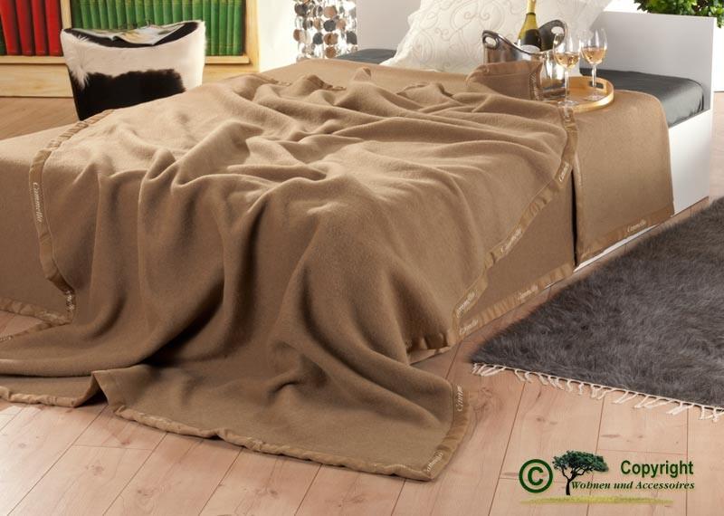 Italienische Kamelhaardecke, weiche Wolldecke aus 100% Kamelhaar in 160x220cm Kamel-braun
