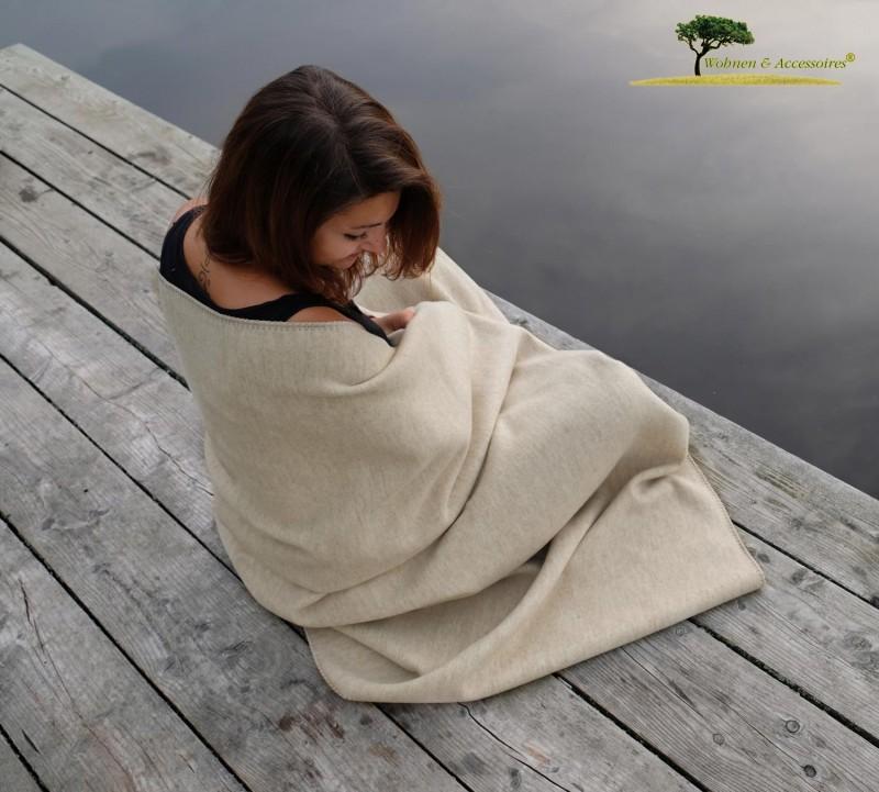Feine Doubleface Wolldecke Königssee aus 100% Merinowolle beige/beige 150x220cm