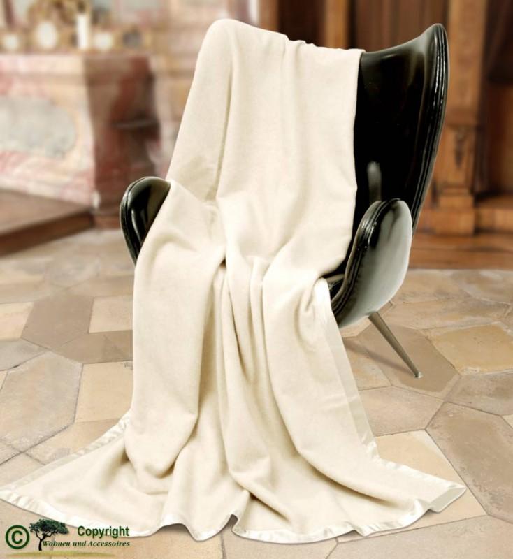 Großartige Kaschmirdecke, eine wunderbare Wolldecke aus Kaschmir 180x220cm in wollweiß