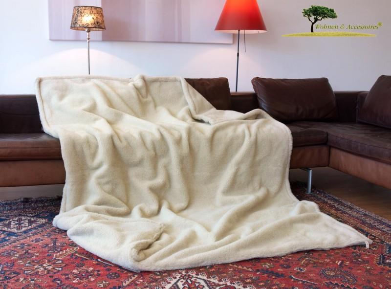 Alpaka Doppel-Wolldecke 150x200cm hellbeige aus Eiderstedt Alpaka