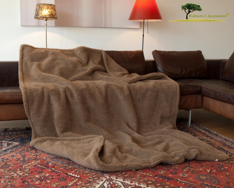 Alpaka Doppel-Wolldecke 150x200cm hellbraun aus Eiderstedt Alpaka