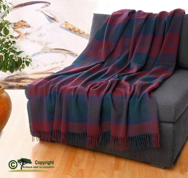 AKTION klassische englische Wolldecke Wollplaid Karo rot grün/22