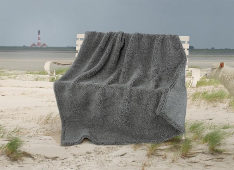 Dicke Wolldecke Nordsee aus Schurwolle von Schafen der Deich- und Küstenlandschaften mittelgrau