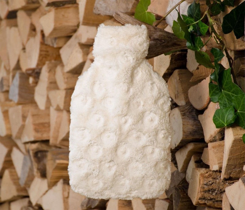 Wärmflaschenhülle aus Fell (Webpelz) Teddy creme-weiß mit Naturgummi Wärmflasche