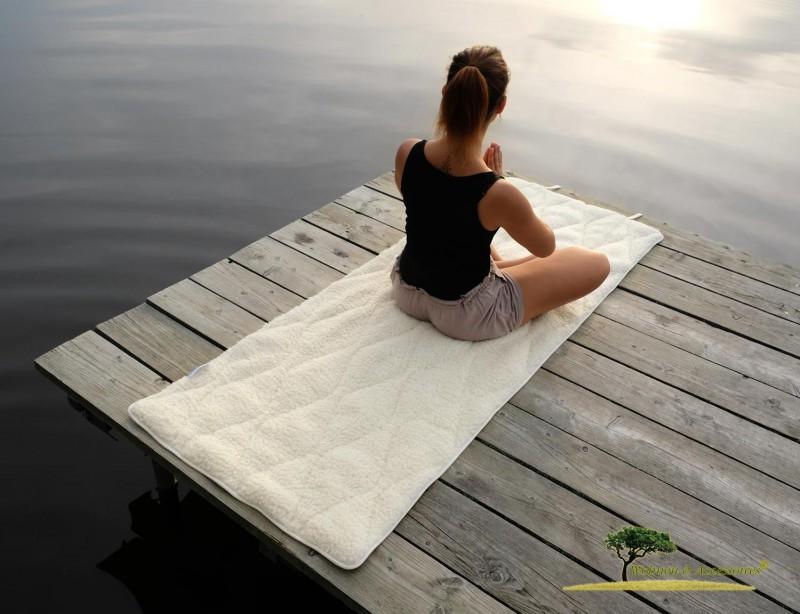 Gepolsterte Yogamatte, dicke ÖKO Yoga Matte aus kbT Schurwolle und kbA Baumwolle