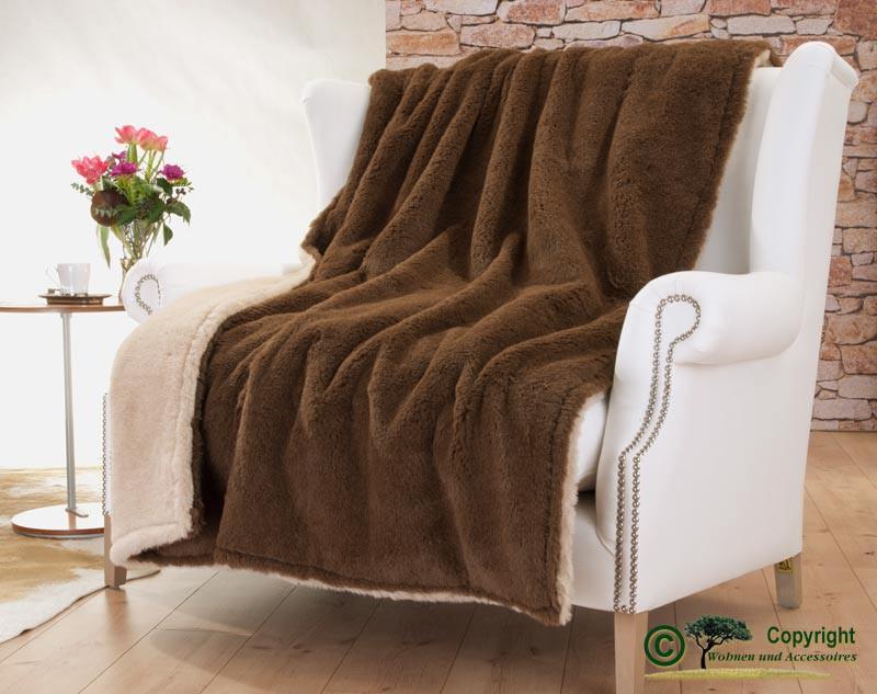 Edle und sehr warme Doppel-Wolldecke aus Alpaka von Steiff-Schulte in braun