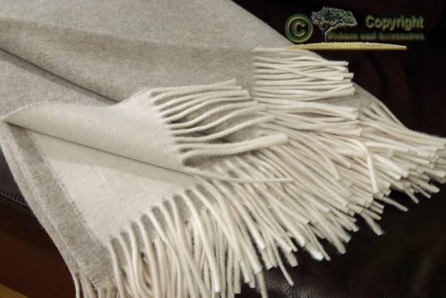 Tolle Wolldecke von Ritter 100% Lammwolle Grau/Beige meliert