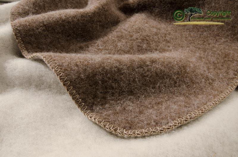 Steiner Doubleface Wolldecke 100% Wolle - Heidi Murmel-Schnee, die ursprüngliche in braun-wollweiß