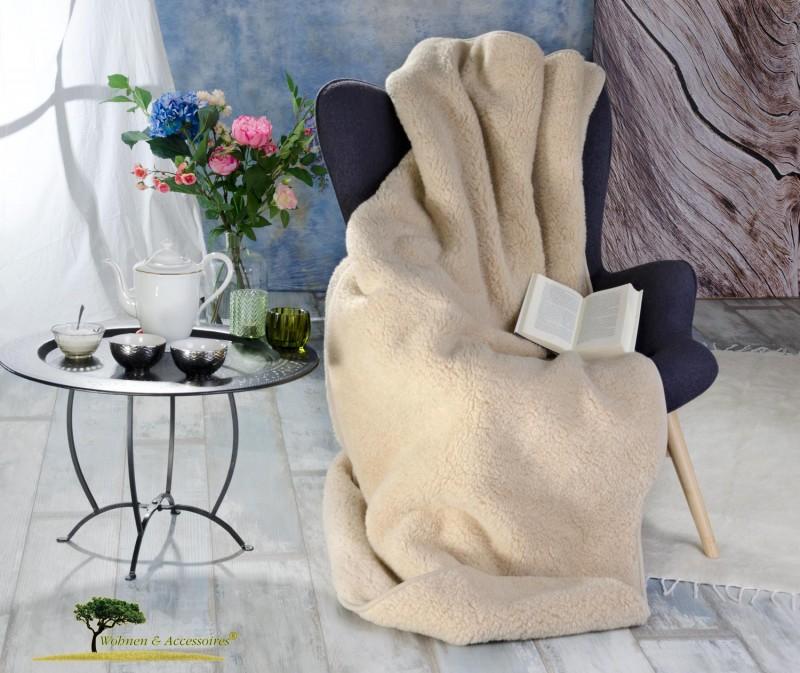 Dicke Wolldecke (Bettdecke) Nuss 135x200cm aus 100% Merinowolle