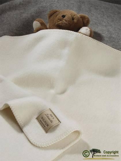 Naturbelassene Babydecke, Baby Wolldecke wollweiß, weiß feine Wolle 75x100cm Optilana von Steinbeck