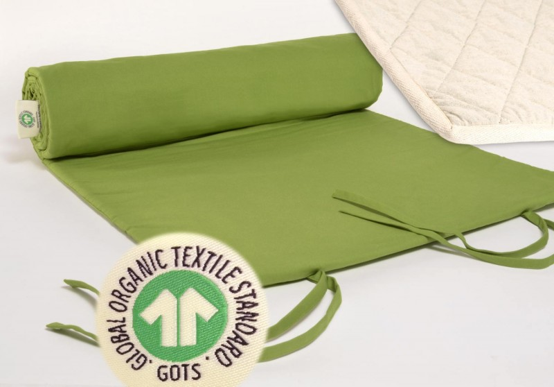 Yogamatte Jaipur grün, GOTS, Bezug kbA Baumwolle mit kbT Wollfilz Matte, pure Natur