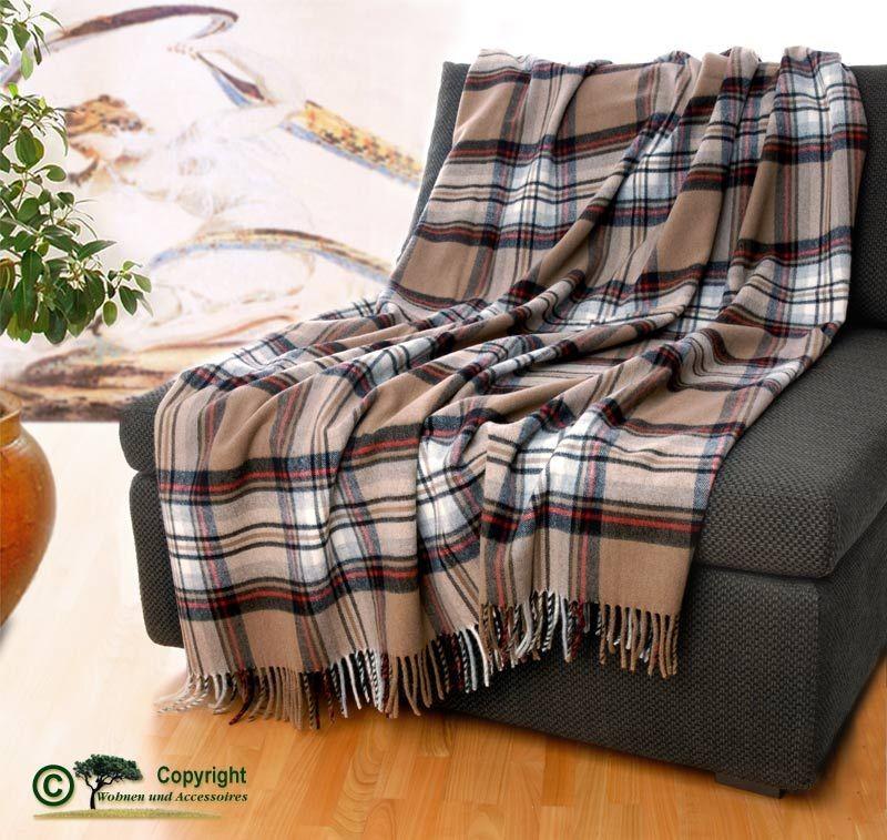 AKTION klassische englische Wolldecke Wollplaid Karo beige /65