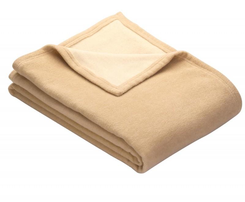 IBENA Doubleface Wolldecke GOTS mit Saum 70% BW 30% SSW kamel-wollweiß