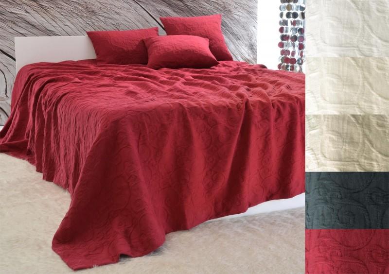 Tagesdecke Fleur - Rankenmuster - rot 180x260 - 260x300cm