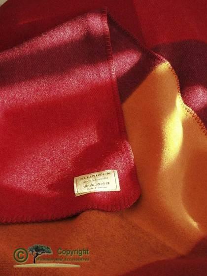 ÖKO-Test empfehlenswert - Wolldecke, Plaid Monza rot 100% Schurwolle 150x200cm von Steinbeck