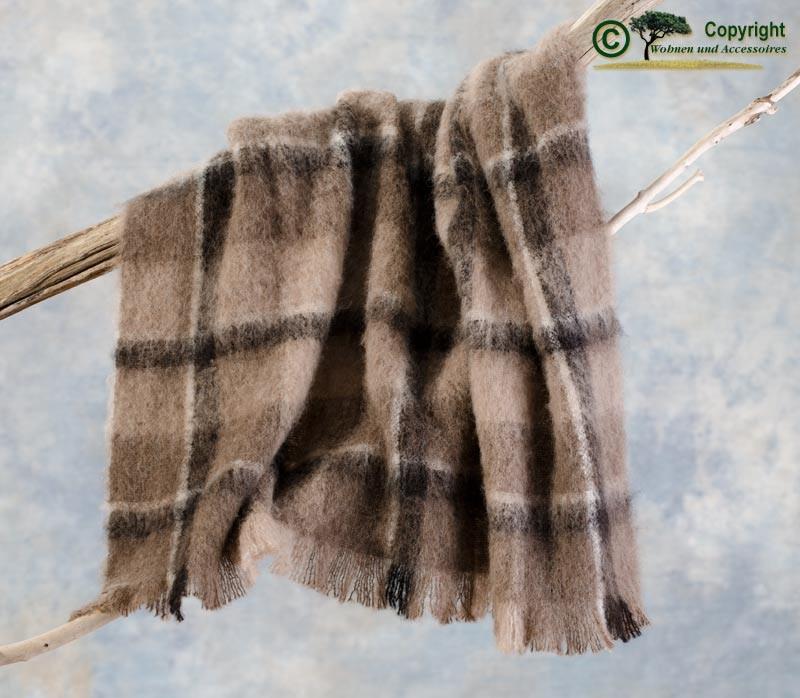 Beste Qualität aus Neuseeland! Wolldecke Stella aus Alpaka super weich wie Kaschmir braun, schwarz