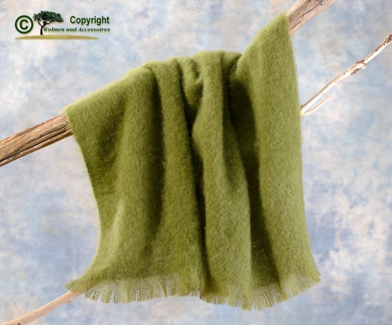 Beste Qualität aus Neuseeland! Luxus Wolldecke aus 100% Mohair, Mohairdecke, Mohairplaid farngrün