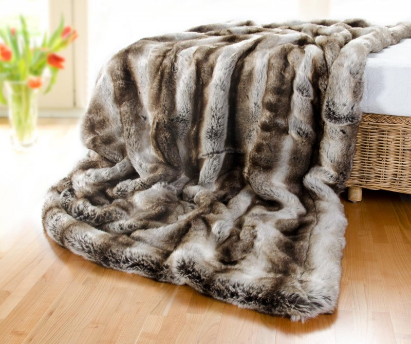 Felldecke (Webpelzdecke) Wolf grau-braun 150x200cm