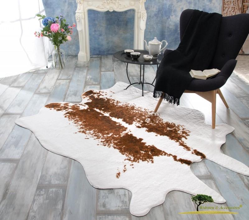 XXL Fellteppich, großer Kurzflor Teppich Kuhfell weiß und braune Töne
