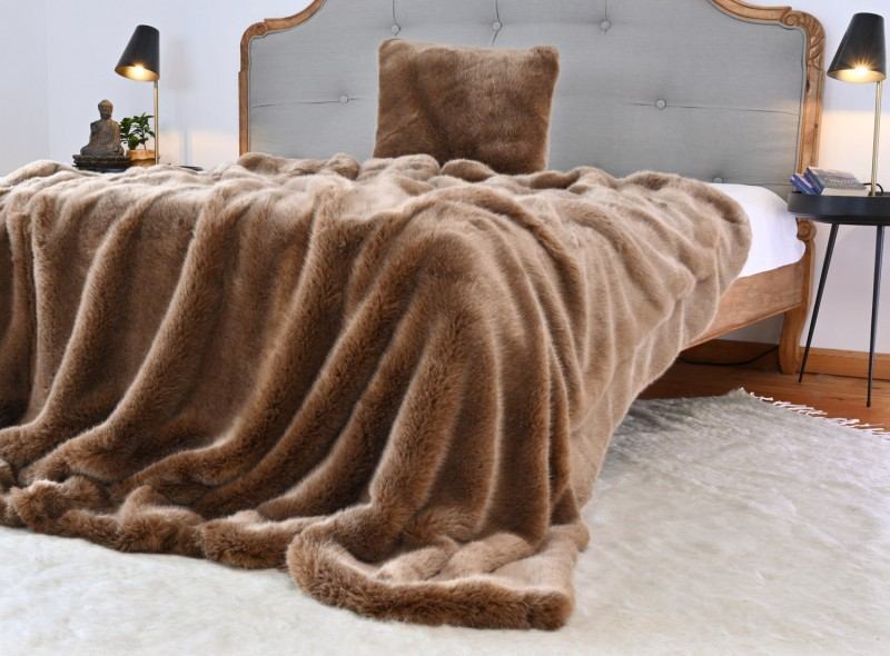 Felldecke (Kunstfell) TOPAS braun - 5 Größen - 150x200 bis 260x300cm - Premium superfein