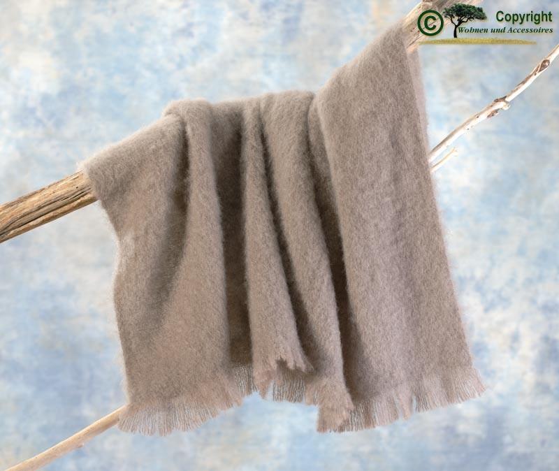 Beste Qualität aus Neuseeland! Luxus Wolldecke aus 100% Mohair, Mohairdecke, Mohairplaid grau-beige