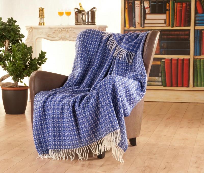 150x200cm großes und typisch englisch gemustertes Fransenplaid, hübsche Wolldecke 100% Neuseeland